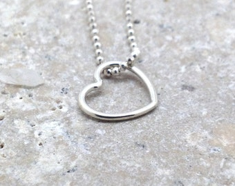 Heart Necklace, Floating Heart Necklace, Small Heart Necklace, Open Heart Necklace, Sterling Silver Jewelry, Charm Necklace, Heart Pendant
