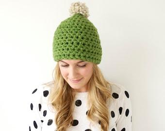Pom Pom Hat // Crochet Beanie // Crochet Winter Hat // THE ONEIDA HAT