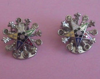 NEW LISTING LFATA Eastern Star Clip Back Earrings for Repairs or Crafts