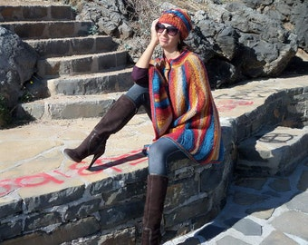 Hand Knit Long Cape, Poncho, Walking Length Multicolor Outerwear.