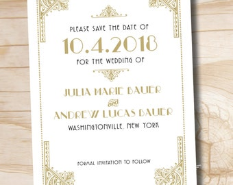 ART DECO GATSBY Wedding Save the Date - Printable digital file or printed invitations