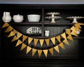 Gold Pennant Banner, Wedding Backdrop, Flag Banner, Wedding Garland, Pennant Garland, Pennant Banner, Birthday Garland - Metallic Gold