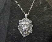 Sterling Silver Lion Head Pendant on a Sterling Silver Chain.