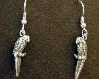 Sterling Silver Macaw Earrings on Heavy Sterling Silver French Wires.
