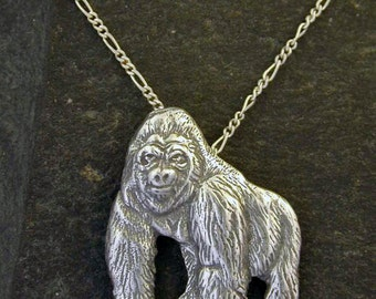 Sterling Silver Gorilla Pendant on Sterling Silver Chain.