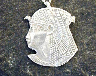 Sterling Silver Egyptian Head Pendant on a Sterling Silver Chain
