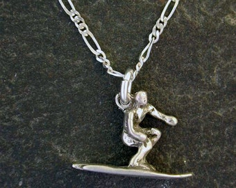 Sterling Silver Surfer Pendant on a Sterling Silver Chain