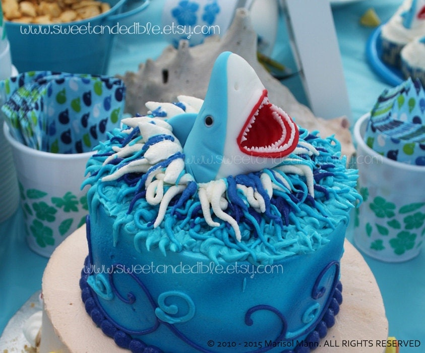 LARGE SHARK CAKE ToPPER. Edible and Amazing