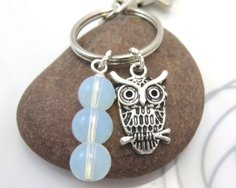 Owl  Keychain Keyring  mini owl charm with swivel clasp moonstone bead stack