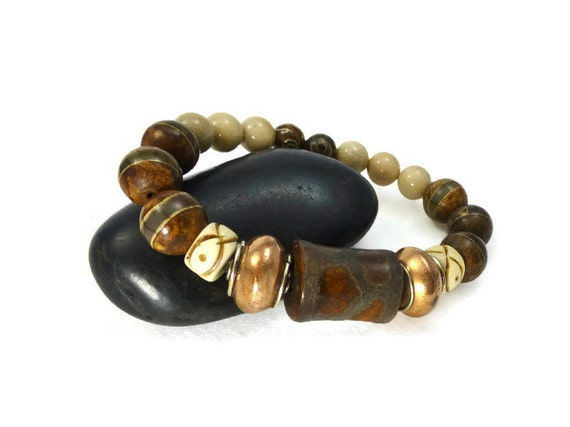 mens tibetan agate stretch bracelet bracelet ethnic