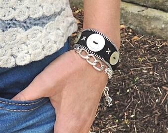 Double Wrap ZIPPER BRACELET - black and white- adjustable - eco-friendly/upcycled jewelry- under 30.00