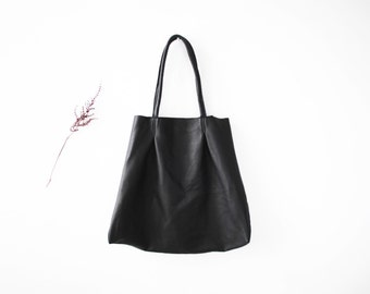 Black Leather Tote Bag | Oversize Black Leather Bag | Women's Shoulder Bag | Large Shopper | Leather Market Tote ... Ready To Ship