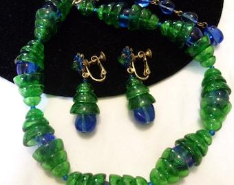 MIRIAM HASKELL Jewelry Blue Green Glass Bead Necklace Flower Drop Earrings