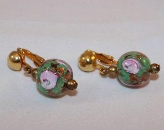 Vintage Murano Glass Bead Earrings Clip Green Lampwork Roses Pink Copper Foil