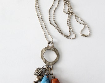 C. Stein necklace, long boho vintage charm necklace