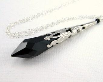 Black necklace, Victorian necklace, Swarovski crystal necklace, Jet black teardrop, Filigree silver necklace, Midnight black pendant