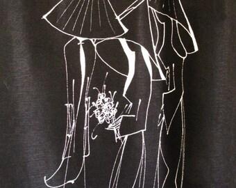 Hand painted women on Vintage Black Cotton skirt