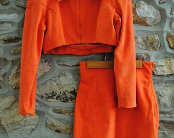 Vintage Orange Crop Jacket and High Waist Pencil Skirt Power Suit