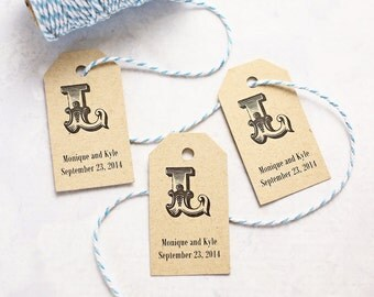 Monogram Tags, Personalized Gift Tag, Wedding Favor Tag, Vintage Initial, Bridal Shower Favor Tag, Rustic Wedding - Set of 25 (SMGT - ROM)