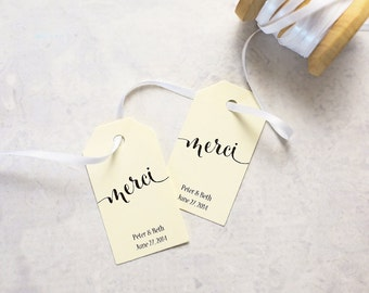 Gift Tags - Merci, Thank You in French, Bridal Shower Favor Tag, Party Favor Tag, Destination Wedding Favor Tag - Set of 25 (SMGT-CAN)