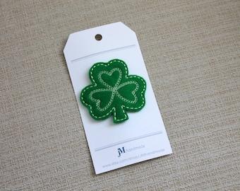 Irish shamrock clover Snap hair clip 100% Wool Feltie