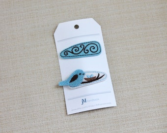 Light blue and Brown Bird 2 pack snap hair clip 100% Wool Feltie
