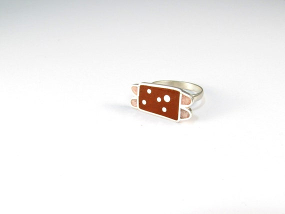 Sterling Silver Ring, Ladybug, Red, Pink, Modern, Contemporary