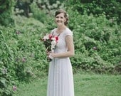 Lace Wedding Dress, Simple Wedding Dress, Wedding Gown, Scoop Neck Dress, Tulle Dress,  A Line Dress, Boho Wedding Dress, Ethereal Wedding