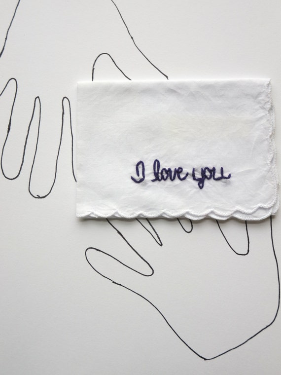 Embroidered I Love You Handkerchief Wedding or Anniversary Gift Valentines Day Present by wrenbirdarts on Etsy