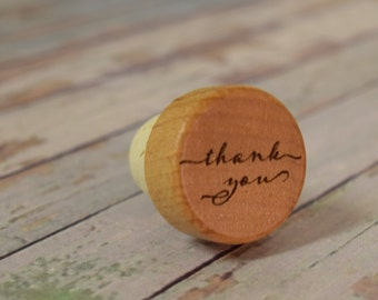 Thank You Wine Stopper, Engraved Wood Bottle Stopper,  wedding wine stopper, thank you gift wS0105