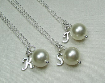 Bridesmaid Jewelry Set of 6 Bridesmaid Gift Pearl Initial Necklaces Cream Ivory Pearl Bridesmaid Necklace Personalized Bridesmaids Gifts