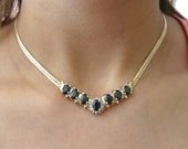 14K Yellow gold Sapphire and diamonds necklace