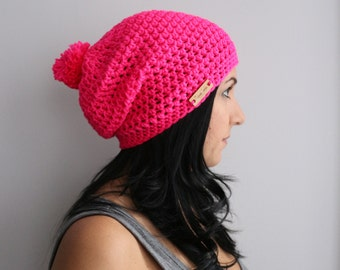 Neon Pink Slouchy Beanie Hat with Pom Pom, Crochet Slouchy Beret Hat, EDM Fashion Accessories