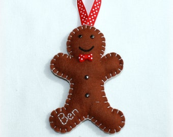 Personalised Felt Gingerbread Man Handmade Ornament