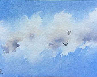Original ACEO watercolor painting - Ragged cloud