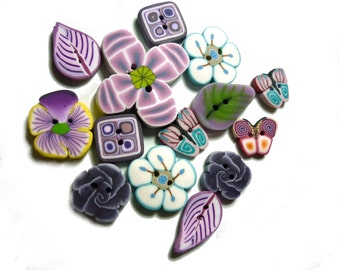 Flower leaf handmade BUTTONS - set of 14 - polymer clay - purple violet amethyst DIY supply - sewing DIY supplies, for crocheting, knitting