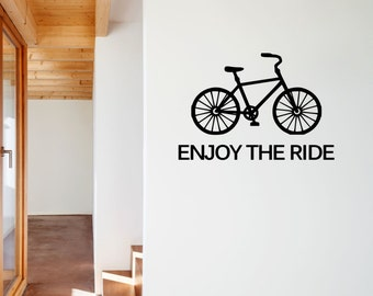 Enjoy The Ride Vinyl Decal with Bicycle - Enjoy the Ride Wall Decal, Bicycle Vinyl Wall Decal, Ride Bike Bicycle Vinyl Decal, Wall, 23x15.75