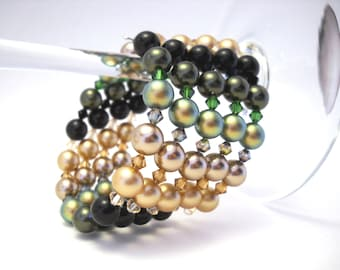 Green gold and black Swarovski wrap bracelet: Eyes in the Night - swarovski pearls, swarovski bracelet, memory wire bracelet, crystal