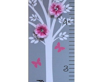 Personalized Growth Chart Children Baby Personalized  Canvas Growth Chart Modern Pink Grey Nursery Tree Flower