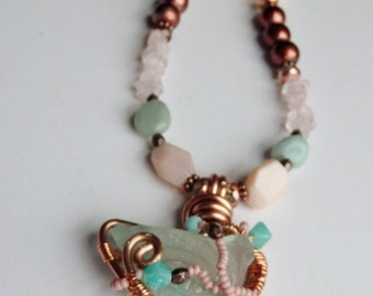 Mermaid Necklace, Rose Quartz and mint green, beach glass, copper necklace, pastel colors, womens fashion, spring colors, mothers day gift