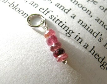 Romantic TINY Pink Tourmaline Dangle - Sterling Silver / Delicate Dainty Small Pendant, Feminine Jewelry, October Birthstone Valentine's Day