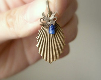 Lapis Art Nouveau Style Pendant / Small Floral Seashell Dangle with Warm Tones, Unique Brass Jewelry with Navy Blue and Gold Stone