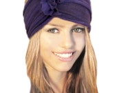 Purple Headband Chunky Stretch Wide Warm Winter Gift For Women Girls Hair Bands Head Wrap Boho Chic Red Cotton Jersey Knit