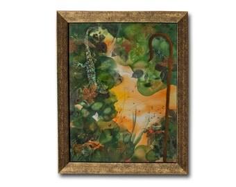 Original painting, fairy tale illustration, fairytale painting, fantasy illustration, king lizard, printed leaves, green, orange, fiber art.