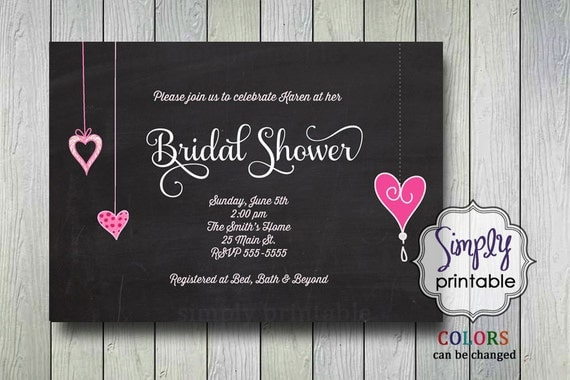 Bridal Shower Invite - Chalkboard with Pink Hearts