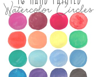 16 Hand Painted Water Color Circles // Watercolor Washes // High Resolution // Instant Download