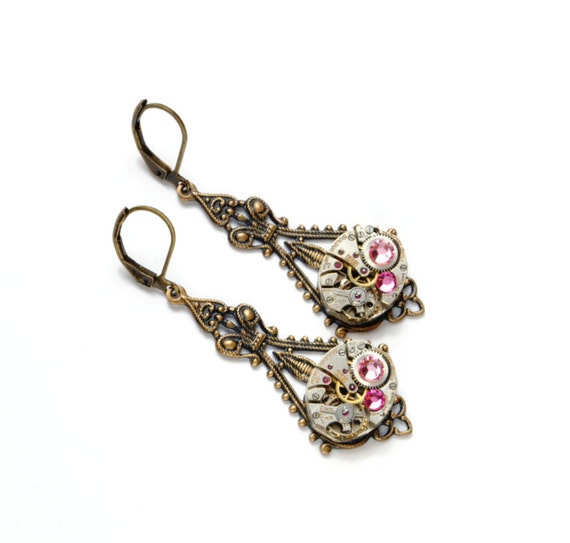 OCTOBER Steampunk Earrings, ROSE PINK Steam Punk Watch Earrings Antique Brass Steampunk Wedding Steampunk Jewelry by Victorian Curiosities