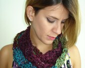 Small Handmade Crochet Cowl in a funky Fall mix of Blue/Purple/Red