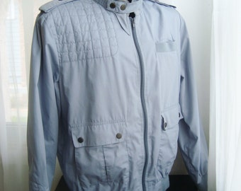Grey Member's Only Style Jacket, By Emelio, Size Medium
