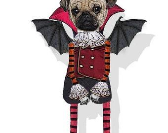 Halloween Paper doll Pug vampire Steampunk orginal articulated DIY instant download